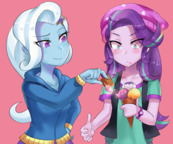 Size: 900x750 | Tagged: safe, artist:tzc, starlight glimmer, trixie, equestria girls, mirror magic, spoiler:eqg specials, beanie, clothes, crackers, food, hat, ice cream, ice cream cone, peanut butter, peanut butter crackers, shirt, simple background, that human sure does love peanut butter crackers, vest