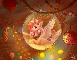 Size: 1024x790   Tagged: safe, artist:nightskrill, oc, oc only, oc:peppermint mocha (pegasusjedi), pegasus, pony, christmas, christmas ball, christmas lights, christmas tree, christmas wreath, ear fluff, fake horns, holiday, male, solo, spread wings, stallion, tree, unshorn fetlocks, wings, wreath