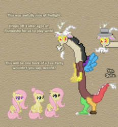 Size: 504x542 | Tagged: accord, artist:verve, ask, ask genie twilight, comic, discord, fake it 'til you make it, female, fluttershy, mare, multeity, pegasus, pixel art, pony, safe, so much flutter, tea party, tumblr