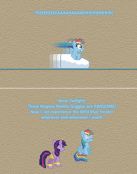 Size: 504x643 | Tagged: alicorn, artist:verve, ask genie twilight, comic, female, genie, grannies gone wild, mare, motion blur, pegasus, pixel art, pony, rainbow dash, roller coaster, safe, twilight sparkle, twilight sparkle (alicorn), vr goggles, wild blue yonder