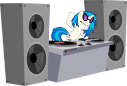 Size: 8812x6000 | Tagged: absurd res, artist:m99moron, bipedal, dj pon-3, eyes closed, female, mare, pony, safe, simple background, solo, speakers, sunglasses, transparent background, turntable, unicorn, vector, vinyl scratch