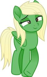 Size: 1492x2413 | Tagged: artist:peahead, blonde, brown eyes, crossed legs, female, lidded eyes, looking at you, mare, movie accurate, my little pony: the movie, oc, oc only, pegasus, pony, safe, simple background, smiling, solo, transparent background, vector