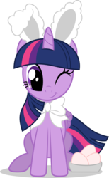 Size: 7000x11389   Tagged: safe, artist:luckreza8, twilight sparkle, alicorn, pony, absurd resolution, bow, bunny ears, clothes, costume, cute, easter, easter bunny, easter egg, female, holiday, mare, one eye closed, simple background, sitting, smiling, solo, transparent background, twiabetes, twilight sparkle (alicorn), vector, wink