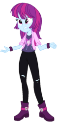 Size: 400x844 | Tagged: alternate costumes, artist:berrypunchrules, clothes, equestria girls, hoodie, mystery mint, safe, simple background, solo, torn clothes, transparent background