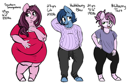 Size: 5416x3500 | Tagged: safe, artist:mulberrytarthorse, oc, oc only, oc:huckleberry bleu, oc:mulberry tart, oc:southern smorgasbord, anthro, bhm, bleuberry, chubby, clothes, couple, dress, fat, female, male, mother and daughter, tongue out