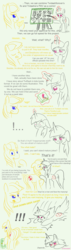 Size: 1000x3507 | Tagged: artist:twidasher, blushing, book, exclamation point, floppy ears, food, implied lesbian, implied shipping, implied twidash, oc, oc:truffle shine, pear, pie chart, pointing, safe