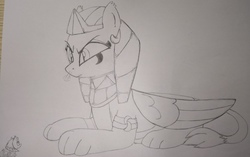 Size: 2304x1448 | Tagged: safe, artist:bender-drede, derpibooru exclusive, somnambula, sphinx (character), sphinx, angry, behaving like a cat, egyptian, evil, headdress, macro, sketch, smoke, traditional art, wings