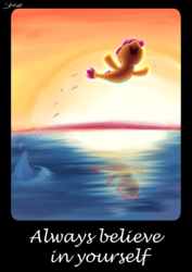 Size: 1488x2105 | Tagged: artist:shaliwolf, border, jumping, motivational, motivational poster, ocean, safe, scene interpretation, scootaloo, seaponified, seapony (g4), seapony scootaloo, solo, species swap, sunset, surf and/or turf, text, water