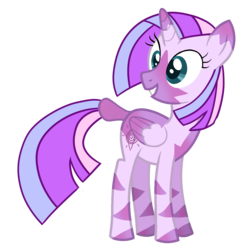Size: 1254x1248 | Tagged: alicorn, alicorn oc, artist:unicorn-mutual, female, hybrid, interspecies offspring, magical lesbian spawn, oc, oc only, offspring, parents:twicora, parent:twilight sparkle, parent:zecora, safe, simple background, solo, transparent background, zebra, zebra alicorn, zebra oc, zony