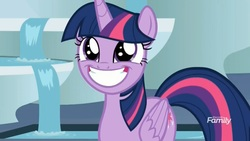 Size: 1629x922 | Tagged: safe, screencap, twilight sparkle, alicorn, horse play, adorkable, cute, dork, faic, female, fountain, solo, squee, throne room, twiabetes, twilight sparkle (alicorn), water