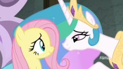 Size: 1238x695 | Tagged: safe, screencap, fluttershy, princess celestia, alicorn, pegasus, pony, horse play, beautiful, comforting, crown, cute, cutelestia, duo, female, jewelry, leaning forward, lidded eyes, looking at each other, mare, momlestia fuel, multicolored mane, regalia, smiling