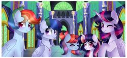 Size: 4000x1831 | Tagged: safe, artist:moon-rose-rosie, rainbow dash, twilight sparkle, oc, alicorn, pegasus, pony, unicorn, family, female, lesbian, magical lesbian spawn, offspring, parent:rainbow dash, parent:twilight sparkle, parents:twidash, shipping, twidash, twilight sparkle (alicorn)