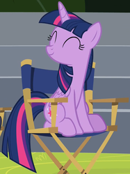 Size: 719x963 | Tagged: safe, screencap, twilight sparkle, alicorn, pony, horse play, chair, cropped, cute, director's chair, eyes closed, female, happy, mare, sitting, solo, twiabetes, twilight sparkle (alicorn)