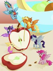 Size: 1024x1365 | Tagged: safe, artist:catscratchpaper, applejack, fluttershy, pinkie pie, rainbow dash, rarity, twilight sparkle, alicorn, bat pony, bat pony alicorn, pony, alicornified, alternate cutie mark, apple, applebat, bat ponified, cute, cutie mark, eating, eyes closed, female, flutterbat, food, fruit, fruit bowl, herbivore, mane six, mare, micro, pinkiebat, race swap, rainbowbat, raribat, raricorn, rope, tiny, tiny ponies, twibat