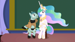 Size: 1920x1080 | Tagged: safe, screencap, on stage, princess celestia, alicorn, pony, horse play, cute, cutelestia, discovery family logo, female, hoof shoes, jewelry, looking at each other, male, mare, peytral, raised hoof, regalia, sitlestia, sitting, size difference, smiling, stallion, unshorn fetlocks