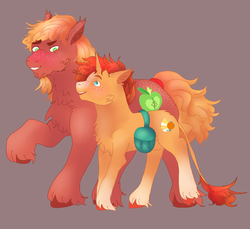 Size: 7025x6447 | Tagged: safe, artist:bewarethemusicman, big macintosh, sunburst, absurd resolution, crack shipping, freckles, gay, leonine tail, macburst, male, raised hoof, saddle bag, shipping, unshorn fetlocks