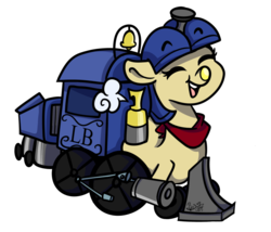 Size: 1024x878 | Tagged: safe, artist:befishproductions, oc, oc:lilly bell, train pony, female, simple background, solo, transparent background