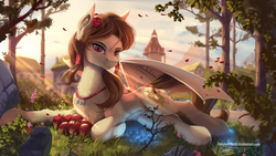 Size: 1920x1080 | Tagged: apple, artist:discordthege, bat pony, bat pony oc, bat wings, chest fluff, crepuscular rays, digital art, ear fluff, evening, fangs, female, flower, flower in hair, food, grass, hairband, jewelry, laying on side, leg fluff, looking at you, mare, mountain, neck fluff, oc, oc:noctalia, oc only, pendant, pony, ponyville, red eyes, rock, safe, scenery, scenery porn, signature, sky, slit eyes, smiling, solo, spread wings, tail wrap, town hall, tree, wallpaper, wings