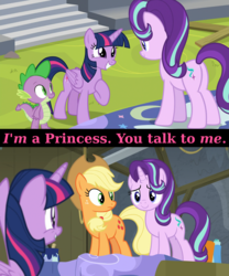 Size: 1920x2312 | Tagged: alicorn, applejack, caption, cute, dragon, earth pony, edit, edited screencap, grin, happy, horse play, pony, safe, screencap, smiling, spike, squee, stage, starlight glimmer, text, theater, twilight sparkle, twilight sparkle (alicorn), unicorn, wide eyes