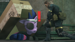 Size: 3840x2160 | Tagged: safe, artist:goatcanon, twilight sparkle, 3d, big boss, box, cardboard box, crossover, duo, exclamation point, eyepatch, future twilight, metal gear, metal gear solid, source filmmaker