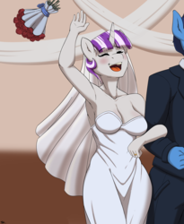 Size: 2474x3020 | Tagged: anthro, armpits, artist:banbanji, art pack:striped, bouquet, breasts, busty twilight velvet, cleavage, clothes, dress, eyes closed, female, marriage, milf, night light, ring, safe, smiling, twilight velvet, wedding, wedding dress, wedding ring, wedding veil