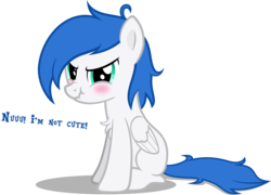 Size: 4174x3000 | Tagged: safe, artist:applec1234, oc, oc only, oc:jass, pegasus, pony, angry, blushing, chest fluff, cute, dialogue, i'm not cute, looking at you, male, scrunchy face, show accurate, simple background, sitting, solo, transparent background, vector