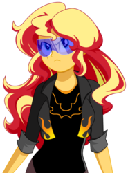 Size: 659x892 | Tagged: safe, artist:rosemile mulberry, sunset shimmer, equestria girls, clothes, equestrian city, female, jacket, scar, simple background, solo, superhero, visor, white background