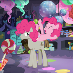 Size: 966x965 | Tagged: duo, earth pony, mudbriar, party cave, pinkie pie, pony, safe, screencap, the maud couple