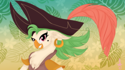 Size: 4156x2333 | Tagged: source needed, safe, artist:silversthreads, captain celaeno, anthro, parrot, my little pony: the movie, beauty mark, clothes, ear piercing, earring, female, hat, jewelry, piercing, pirate hat, solo