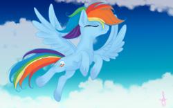 Size: 7000x4375 | Tagged: safe, artist:silversthreads, rainbow dash, pegasus, pony, absurd resolution, cloud, flying, solo, unshorn fetlocks
