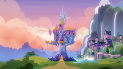 Size: 1920x1080   Tagged: safe, screencap, the maud couple, background, beautiful, bridge, bush, castle, flag, houses, lake, morning, mostly cloudy, mountain, no pony, ponyville, scenery, school of friendship, tree, twilight's castle, waterfall