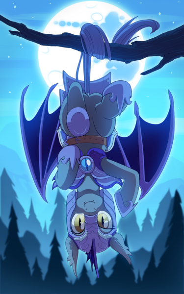 Size: 2500x4000 | Tagged: safe, artist:jedayskayvoker, artist:redchetgreen, bat pony, pony, armor, butt, collaboration, dock, featured image, featureless crotch, female, forest, guard, guardsmare, hanging, helmet, high res, looking at you, mare, mare in the moon, moon, night, night guard, plot, royal guard, smiling, smiling at you, solo, suspended, tail hold, tree, tree branch, upside down