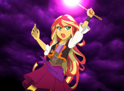 Size: 2064x1520 | Tagged: artist:fantasygerard2000, clothes, equestria girls, female, magic, movie magic, open mouth, safe, skirt, spoiler:eqg specials, sunset shimmer, sunshim, wand