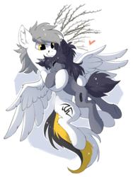 Size: 961x1280 | Tagged: safe, artist:hioshiru, oc, oc only, oc:kate, oc:kej, pegasus, pony, unicorn, couple, eyes closed, female, heart, hug, k+k, male, pussy willow, smiling, spread wings, straight, wings