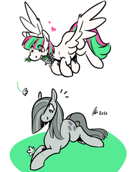 Size: 1200x1500 | Tagged: safe, artist:rwl, blossomforth, marble pie, pegasus, pony, female, flower, flower in mouth, heart, lesbian, marbleforth, mouth hold, shipping