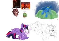 Size: 910x640 | Tagged: safe, artist:hioshiru, princess celestia, princess luna, twilight sparkle, oc, alicorn, flockmod, food, jelly, meme, twilight sparkle (alicorn)