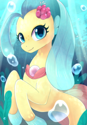 Size: 837x1200 | Tagged: artist:ayahana, bubble, female, flower, flower in hair, looking at you, my little pony: the movie, princess skystar, safe, seapony (g4), smiling, solo, underwater