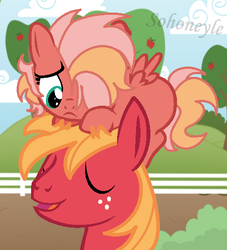 Size: 504x556 | Tagged: artist:sohoneyle, base used, big macintosh, blank flank, father and daughter, female, filly, hair over one eye, male, oc, oc:heart apple, offspring, parent:big macintosh, parent:fluttershy, parents:fluttermac, pegasus, pony, pony hat, safe