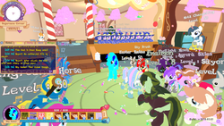 Size: 1360x768 | Tagged: blossomforth, cardboard wings, clones, clothes, dancing, fake horn, fake wings, female, game screencap, goggles, legends of equestria, male, mare, oc, oc:sky gamer, pegasus, pony, safe, screenshots, stallion, sugarcube corner