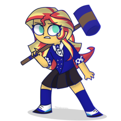Size: 1378x1378   Tagged: safe, artist:psychodiamondstar, sunset shimmer, equestria girls, clothes, cosplay, costume, crossover, female, heathers, heathers the musical, mallet, pleated skirt, school uniform, shoes, simple background, skirt, socks, solo, transparent background, veronica sawyer