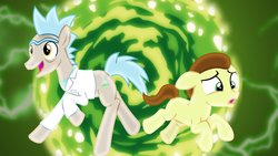 Size: 1600x900 | Tagged: artist:cheezedoodle96, artist:sailortrekkie92, clothes, colt, earth pony, floppy ears, grandfather and grandchild, grandfather and grandson, grannies gone wild, happy, jumping, lab coat, male, morty smith, ponified, pony, pony morty, pony rick, portal, rick and morty, rick sanchez, running, safe, scared, shirt, stallion, unibrow, wallpaper
