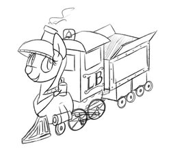 Size: 948x843 | Tagged: safe, artist:charbycharby, oc, oc:lilly bell, object pony, original species, train pony, female, inanimate tf, locomotive, monochrome, solo, train, trainified, transformation