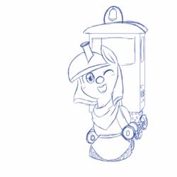 Size: 1000x1000 | Tagged: safe, artist:asksonatadusk, oc, oc:lilly bell, object pony, original species, train pony, female, inanimate tf, locomotive, monochrome, solo, train, trainified, transformation