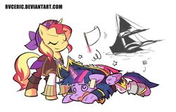 Size: 1575x1005 | Tagged: safe, artist:rvceric, sunset shimmer, twilight sparkle, alicorn, pony, unicorn, equestria girls, movie magic, my little pony: the movie, spoiler:eqg specials, clothes, defeated, duo, eyes closed, female, glowing horn, magic, mare, pirate, pirate outfit, pirate ship, pirate twilight, simple background, stars, sunshim, swirly eyes, telekinesis, twilight sparkle (alicorn), white background, white flag, wingding eyes