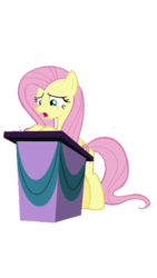 Size: 540x960 | Tagged: safe, fluttershy, horse play, background removed, bipedal, open mouth, podium, simple background, solo, transparent background