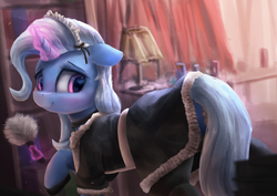 Size: 3600x2550 | Tagged: safe, artist:vanillaghosties, trixie, pony, unicorn, backlighting, blushing, clothes, curtains, cute, detailed, diatrixes, duster, female, floppy ears, glowing horn, high res, hoof shoes, horn, indoors, lamp, levitation, looking at you, looking back, looking back at you, magic, maid, maid headdress, mare, raised hoof, smiling, solo, telekinesis, uniform