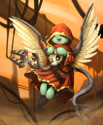 Size: 1633x1972 | Tagged: adeptus mechanicus, artist:otakuap, cloak, clothes, crossover, cyborg, female, flying, mare, oc, oc only, pegasus, pony, safe, servo skull, skull, smiling, solo, spread wings, warhammer 40k, wings