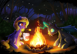 Size: 2400x1697   Tagged: safe, artist:fidzfox, oc, oc only, oc:butter cream, oc:gallant sentinel, bat pony, changeling, pony, bat pony oc, campfire, changeling oc, fangs, female, food, forest, glowing horn, magic, mare, marshmallow, mouth hold, night, smiling, tree