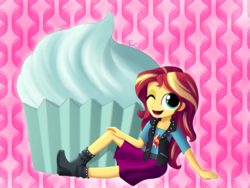 Size: 2000x1500 | Tagged: artist:songbirdserenade, boots, clothes, cupcake, cute, equestria girls, equestria girls series, female, food, high heel boots, jacket, leather jacket, looking at you, one eye closed, raised leg, safe, shimmerbetes, shirt, shoes, skirt, smiling, solo, sunset shimmer, vest, wink