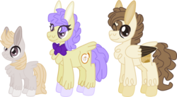 Size: 2333x1281 | Tagged: safe, artist:magnesium--oxide, cream puff, pound cake, oc, oc:taffy, earth pony, pegasus, pony, female, male, older, parent:cream puff, parent:pound cake, parents:poundpuff, poundpuff, simple background, straight, transparent background, two toned wings, wavy mouth